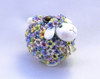 Springtime Lamb Vase with Pink, Purple, Blue, and Yellow Pastel Flowery Fleece