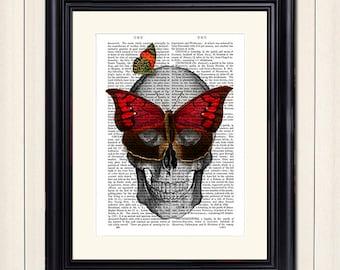 Skull with Butterfly Mask - Skull illustration goth art print gothic art print gothic decor skull wall art skeleton art print skeleton decor