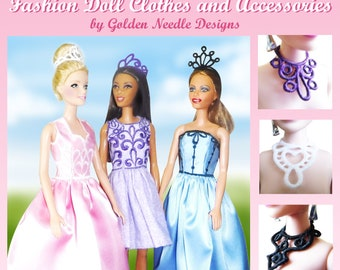 Fashion Doll Clothes and Accessories Machine Embroidery Designs for pes, art, hus, jef, vip