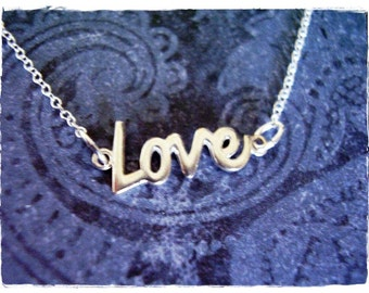 Tiny Love Necklace - Sterling Silver Love Charm on a Delicate Sterling Silver Cable Chain or Charm Only