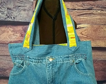Recycled Upcycled Denim Shoulder Bag Jean Bag