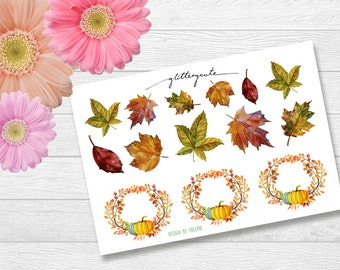 Autumn Leaves and Wreaths Planner Stickers