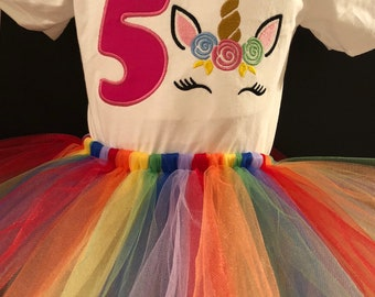 Unicorn 1st, 2nd, 3rd, 4th, 5th, Birthday Embroidered Outfit tutu Personalized Rainbow