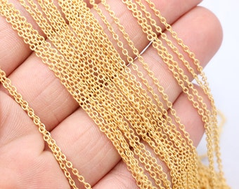 Matt Gold Plated Chains (1,5x2mm) Rolo Chains - Gold Plated Chains - Brass Chains - Soldered Chain , bx15,  BXB3