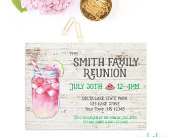 Family Reunion Invitation Memorial Day Picnic Labor Day Summer Party Invitation Adult Birthday BBQ Housewarming Printable Rustic Cookout