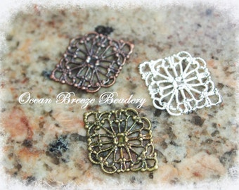 Filigree Flower . 10 Pieces . 15 x 20mm . Antiqued Bronze . Antiqued Copper . Silver Plate
