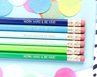 Work Hard and Be Kind Pencils, Blue/Green Pencils, Set of 6 Hex Pencils, Gold Foil Pencils, Imprint Pencils, Stocking Stuffer, TED003-PNCL