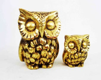 Vintage Mid Century Pottery Owl Pair in Gold. Circa 1960's.