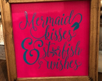 Mermaid Kisses and Starfish Wishes Framed Canvas