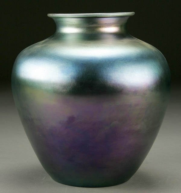 Sale Steuben Glass Works Blue Iridescent Aurene Vase No 2683
