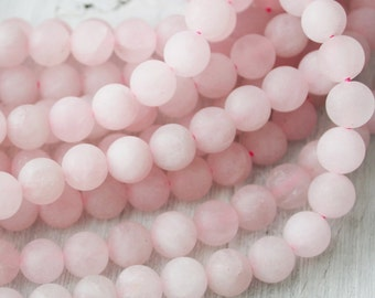 8mm Frosted Rose Quartz A Quality Gemstones Pink Stone Beads Mala Beads