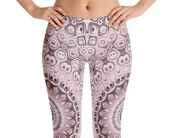 Mid Rise Medallion Print Leggings, Boho Yoga Pants, Bohemian Yoga Leggings, Printed Art Leggings, Fashion Tights