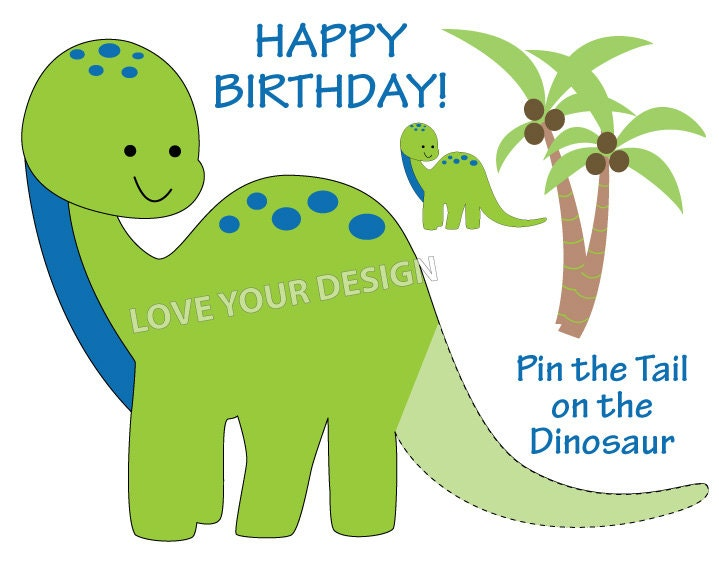 Dinosaur Pin the Tail on the Dinosaur birthday game YOU