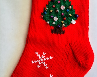 Hand-knitted Personalized Christmas Stockings: Christmas Tree