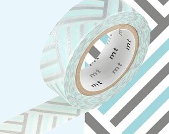Rayure bleu, argent, blanc adhésif • MT Masking Tape • MT ex Washi Tape • Washi Tape UK • papeterie japonaise • coin Izumi