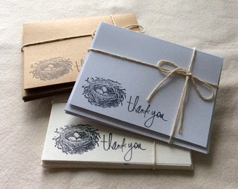 6 Bird Nest Thank You Card Set, Thank you Cards, Robin's Nest Blank Note Cards