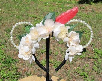 Peter Pan MInnie Mouse Ears, Micky Ears, Disney Flower Ears