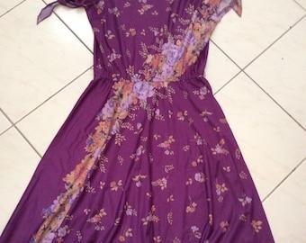 Vintage 70s Floaty Floral Boho Midi Dress Sz Medium Aus 10 12 US 6 8