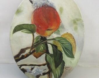 Vintage Apple Oil Painting Signed
