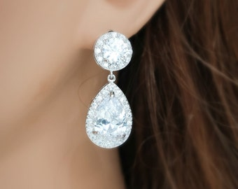 Wedding earrings Bridal jewelry Cubic zirconia earrings crystal teardrop drop earrings rhodium plated rhinestone dangle drops