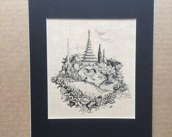 Wonderful Original 1919 Ink Fantasy Drawing, New Mat