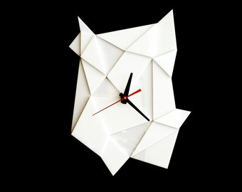 Geometric Wall Clock- White - Faceted Textural Geometric Clock