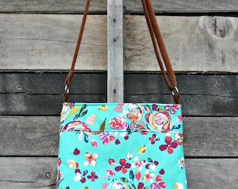 Crossbody Bag, Floral, Genuine Leather, Adjustable Strap, Everyday Purse