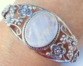 Classic Ranbow Moonstone, Sterling Silver, Cuff Bracelet, Gemstone Jewelry, Edwardian Fantasy, Adjustable Bracelet, Floral Filigree Design