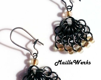 Small Black & Gold Beaded Chainmaille Drop Earrings Jewelry, Small Rustic Gold and Black Handcrafted Earrings Maillewerks Hanan Hall Jewelry