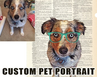 Custom Pet Portrait from photo, Personalized Gift Idea for Pets & Pet Lovers, Custom gifts, Art Print dictionary, Custom Pet Art
