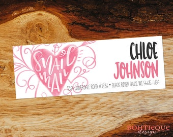 Snail Mail Handlettered Watercolor Heart Personalized Return Address Labels