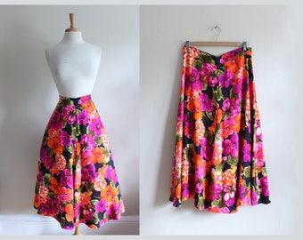 Vintage Purple & Orange Neon Bright Floral Midi Skirt