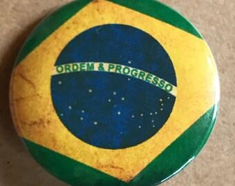 Brazil Flag Pinback Button, Brazil Pin, Brazil Magnet, Rio Olympics, Brazil Football Pin, Brazil Flag Magnet, Backpack Pin, Travel Pins
