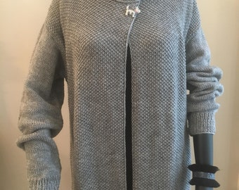 Gray long cardigan,Handmade,Casual cardigan,Gray knitting rope,Stylish long cardigan