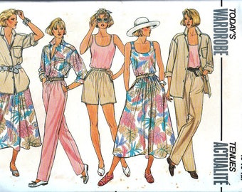 Vintage Sewing Patterns, 1980s, 80's Ladies Fashion, Loose Fitting Shirt,Tank, Pants, Shorts Skirt, Xsmall, Small, Med, Butterick 3247 UNCUT