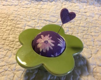 Flower pin cushion Pin keep green and purple