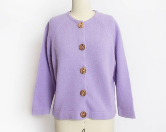 Vintage 1960s Sweater - Purple Wool Knit Fitted Cardigan - Small