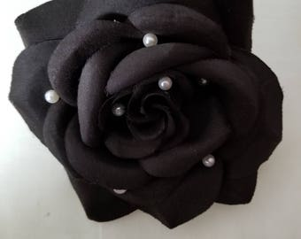 Large black silk flower with faux pearl