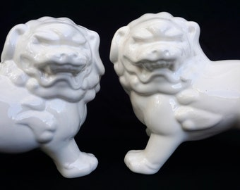 "Large Vintage Porcelain Foo Dog Statues| A Pair| White or Hot Pink || 12"" Guardian Lions 