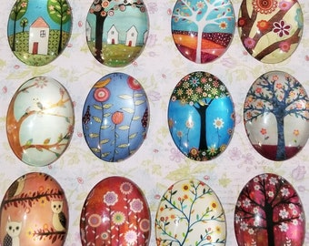30x40mm Whimsical Glass Cabochon, Scrapbooking, Magnets
