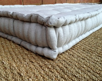 French Mattress Day Bed Cushion, Quilted Edge, Hand Tufted, Window Seat, Floor Pillow, Vintage Inspired-Please Note- Full Price on Quotation
