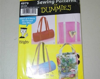 Simplicity Assorted Totes Sewing Patterns for Dummies Handbag Pattern 4979 11864