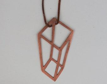 Geometric Copper Necklace   Anamorphic illusion Cube