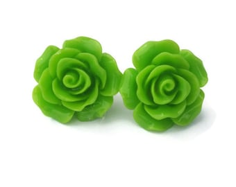 Lime Green Large Rose Earrings - Pinup, Rockabilly, Kitsch