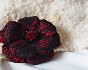 "Felted handmade pin ""Pomegranate Flower"""