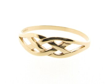 Ladies 9ct Yellow Gold Celtic Knot Design Ring - UK Sizes - J - R & US Sizes 4.5 - 8.5