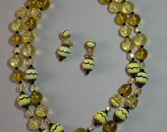 Vintage Bumble Bee Necklace & Earring Set