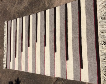 Handwoven Rug or Wall Hanging. Piano Keys Design. Chimayo Natural Dyed Wool, Brown Red and White