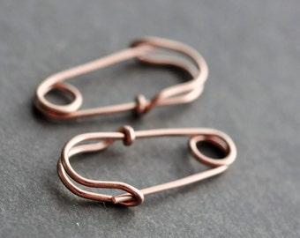 14K Rose gold filled SAFETY PIN earrings (mini 0.75 inch)  - tiny hoop earrings, unisex earrings, everyday earrings, punk jewelry