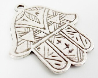 Etched Hamsa Hand of Fatima Pendant Charm - Silver Plated - 1PC - SP141